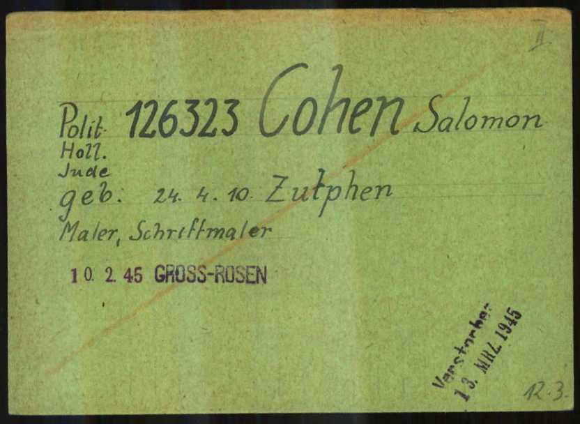 Persoonskaart Gross Rosen